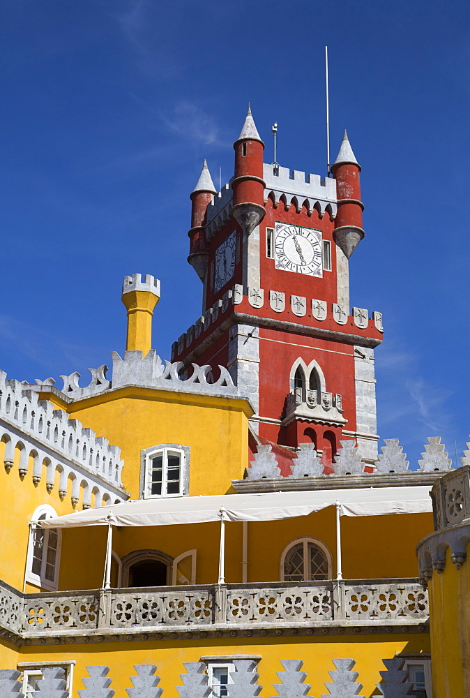 Queens Terrace in foreground and Clock Tower, Penna National Palace, Sintra, UNESCO World Heritage Site, Portugal, Europe