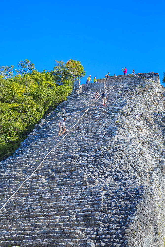 Tourists climbing the Temple, Nohoch Mul Temple, Coba, Quintana Roo, Mexico, North America - 801-1992