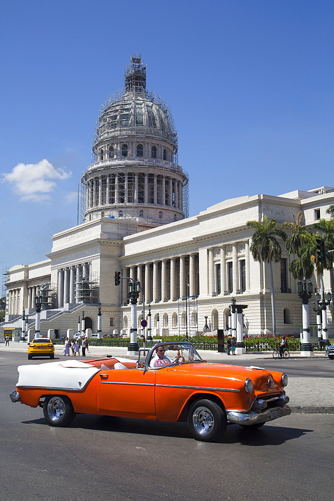 Vintage 1954 Oldsmobile in front of Capitol Building, Centro Habana, Havana, Cuba, West Indies, Central America