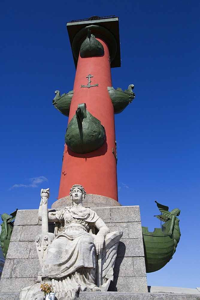 Marble Figure Represents the Neva River, Rostral Column, St Petersburg, UNESCO World Heritage Site, Russia