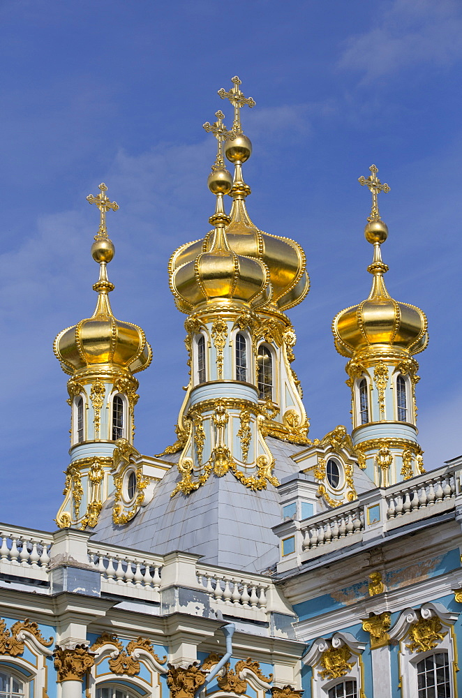 Domes of the Palace Church, Catherine Palace, Tsarskoe Selo, Pushkin, UNESCO World Heritage Site, Russia, Europe