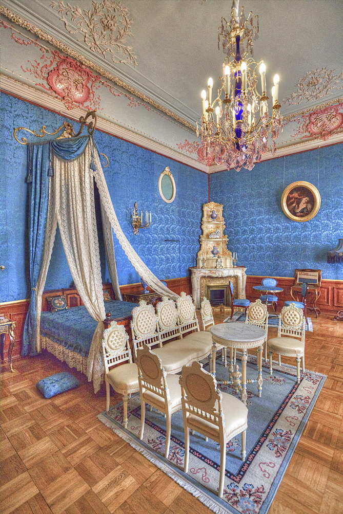The Blue Bedroom, Yusupov Palace on the Moika, St. Petersburg, Russia, Europe