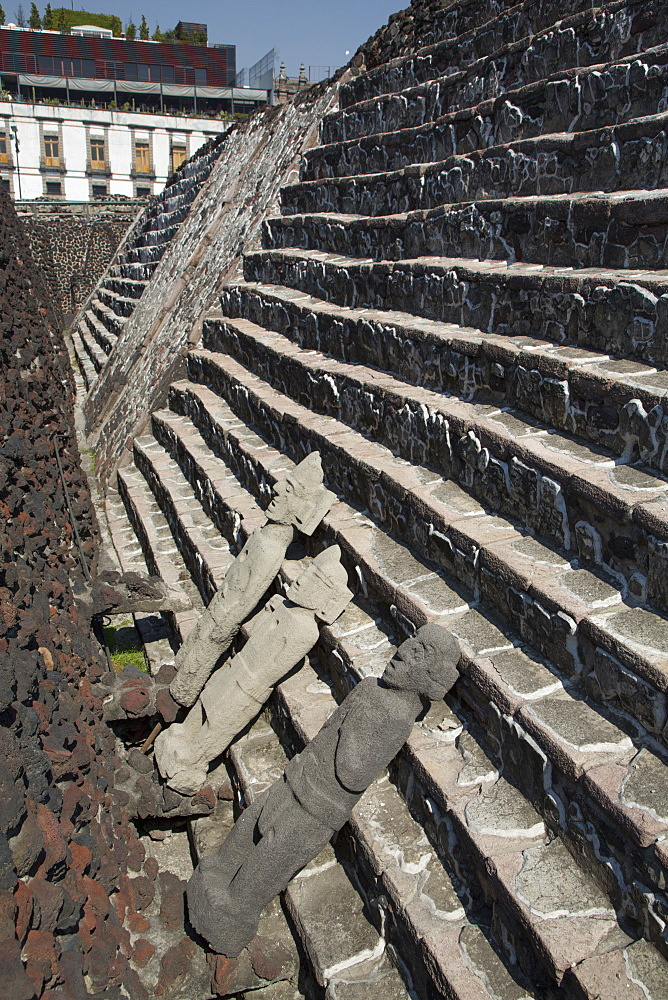 Aztec statues, Phase 3, between 1427 and 1440, Pyramid Stairway, Templo Mayor, Mexico City, Mexico, North America