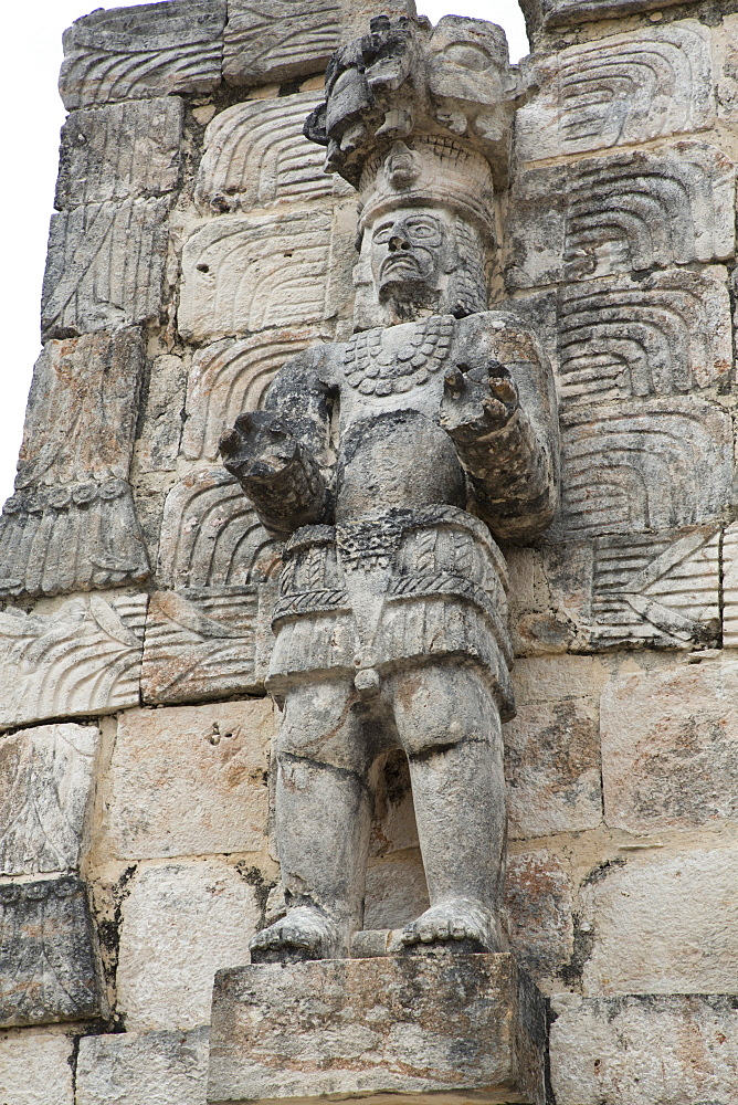 Stone Figure, Palace of the Masks (Codz Poop), Kabah Archaeological Site, Mayan Ruins, Puuc Style, Yucatan, Mexico