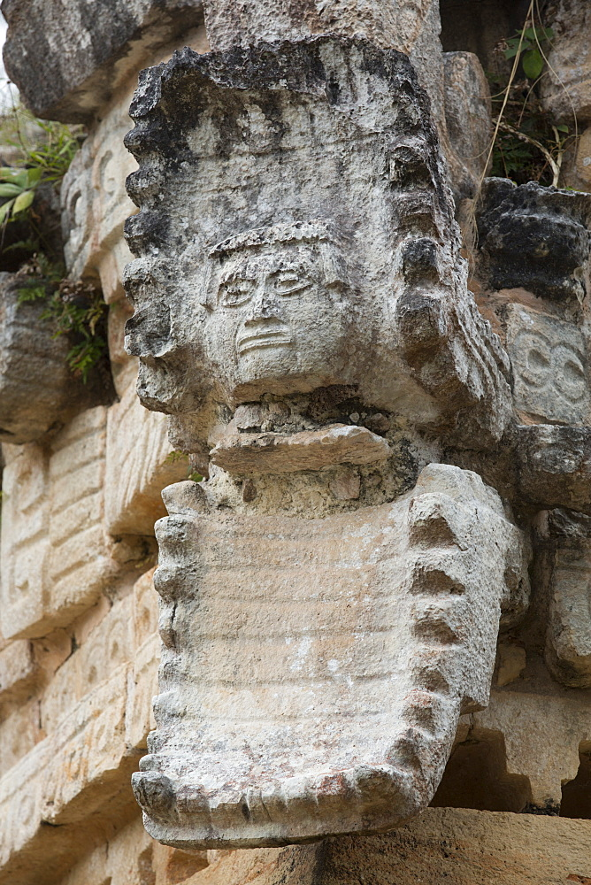 Serpent Mouth, with Human Mask, Palace, Labna Archaeological Site, Mayan Ruins, Puuc Style, Yucatan, Mexico