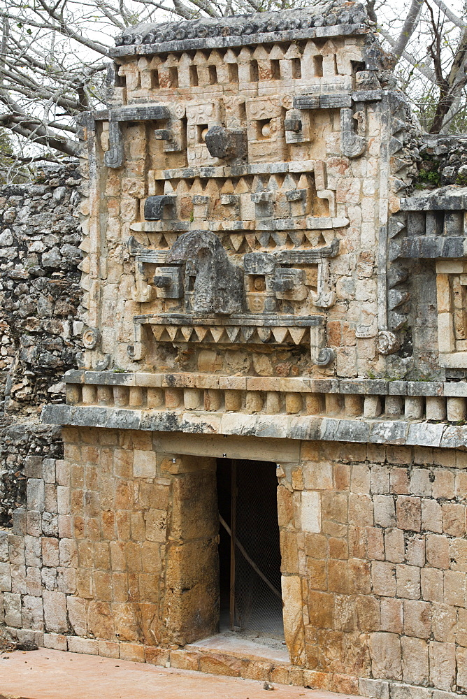 Chac Rain God Stone Mask, Palace, Xlapak Archaeological Site, Mayan Ruins, Puuc style, Yucatan, Mexico, North America