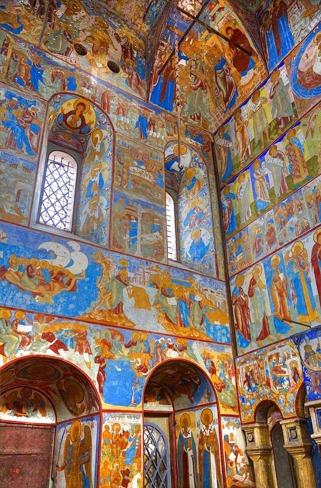 Frescoes, St. John the Theologian's Gate Church, Kremlin, Rostov Veliky, Golden Ring, Yaroslavl Oblast, Russia, Europe