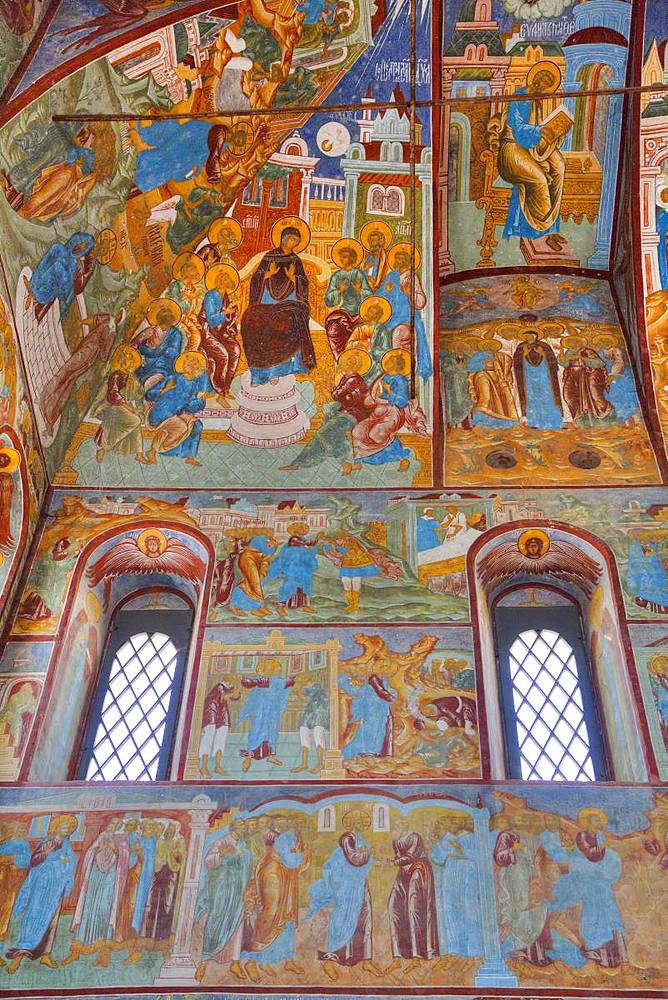 Frescoes, Miracle Image of the Saviour Church, Kremlin, Rostov Veliky, Golden Ring, Yaroslavl, Russia, Europe