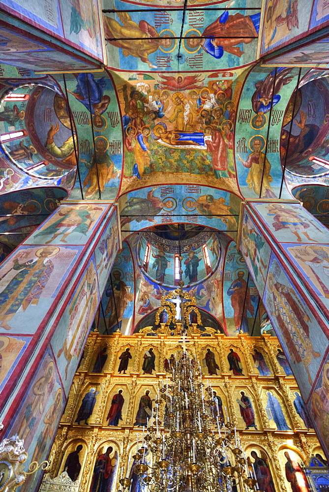 Frescoes, Holy Dormition Cathedral, The Holy Trinity Saint Sergius Lavra, UNESCO World Heritage Site, Sergiev Posad, Russia, Europe - 801-2391