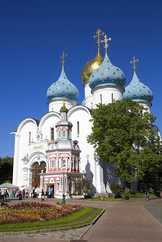 Holy Dormition Cathedral, The Holy Trinity Saint Sergius Lavra, UNESCO World Heritage Site, Sergiev Posad, Russia, Europe
