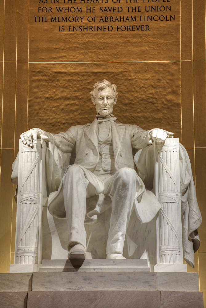 Evening, Statue of Abraham Lincoln, Lincoln Memorial, Washington D.C., United States of America, North America - 801-2436
