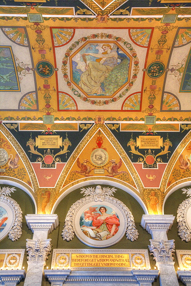 Ceiling and walls, Mezzanine of the Great Hall, Library of Congress, Washington D.C., United States of America, North America - 801-2460