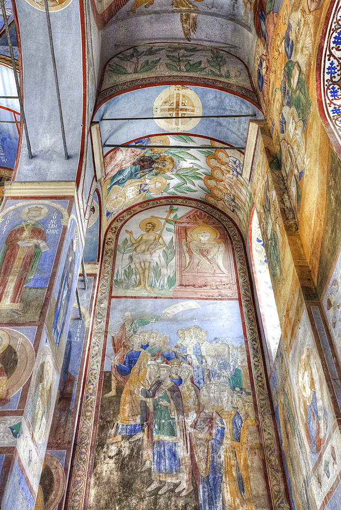 Frescoes, Church of the Nativity of the Virgin, built 1158, UNESCO World Heritage Site, north of Vladimir, Russia, Europe