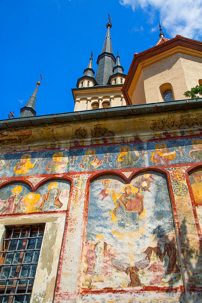 External Frescoes, St Nicholas Orthodox Church, Founded 1292, Brasov, Transylvania Region, Romania