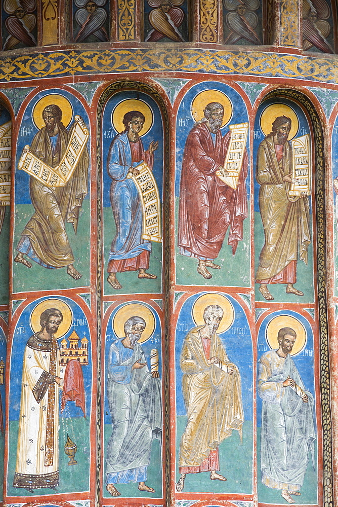 Exterior Frescoes, Voronet Monastery, 1487, UNESCO World Heritage Site, Gura Humorului, Suceava County, Romania, Europe - 801-2727