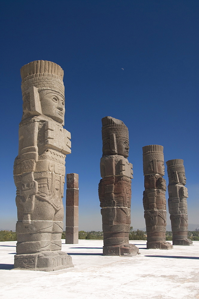 Atlantes warrior statues, Temple of Quetzalcoatl, Tula, the probable capital of Toltec civilization, Archaeological Zone, Tula de Allende, Hidalgo, Mexico, North America