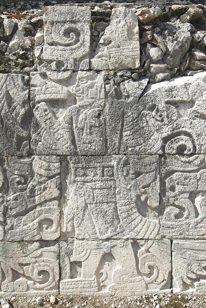 Stone reliefs in the Great Ball Court (Gran Juego de Pelota), Chichen Itza, UNESCO World Heritage Site, Yucatan, Mexico, North America