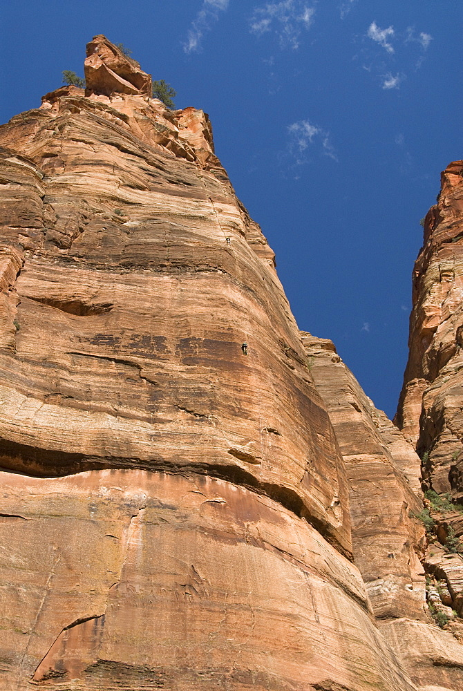 Big Bend area, two rock climbers, Zion National Park, Utah, United States of America, North America