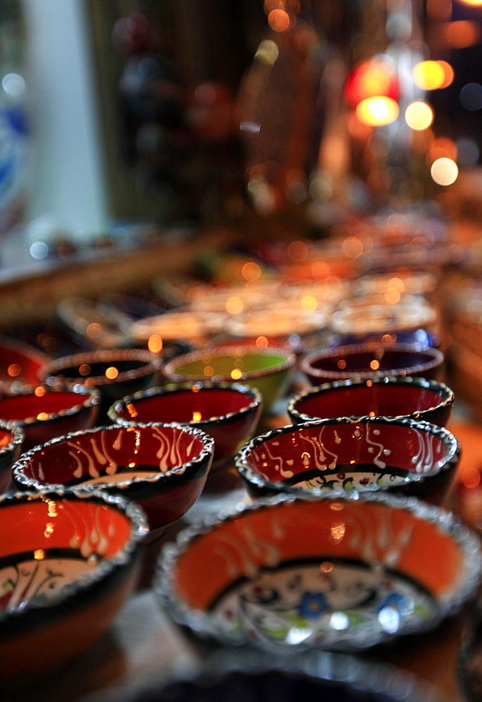 Traditional Turkish bowls on sale at a street stall in the old city of Antayla, Anatolia, Turkey, Asia Minor, Eurasia