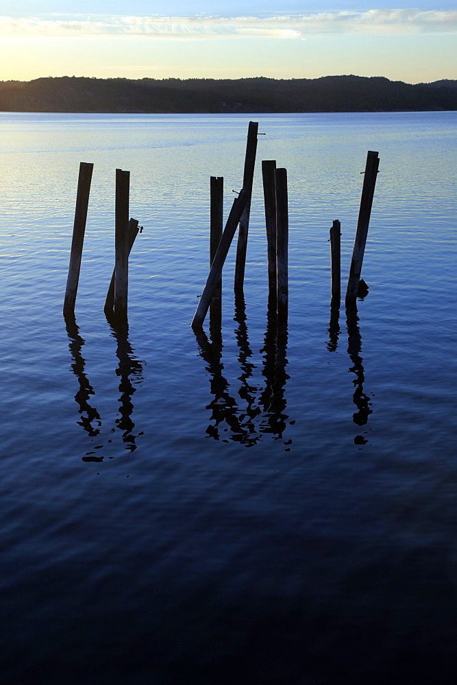 A disused pier fallen into ruins, Bohuslan, west coast of Sweden, Scandinavia, Europe
