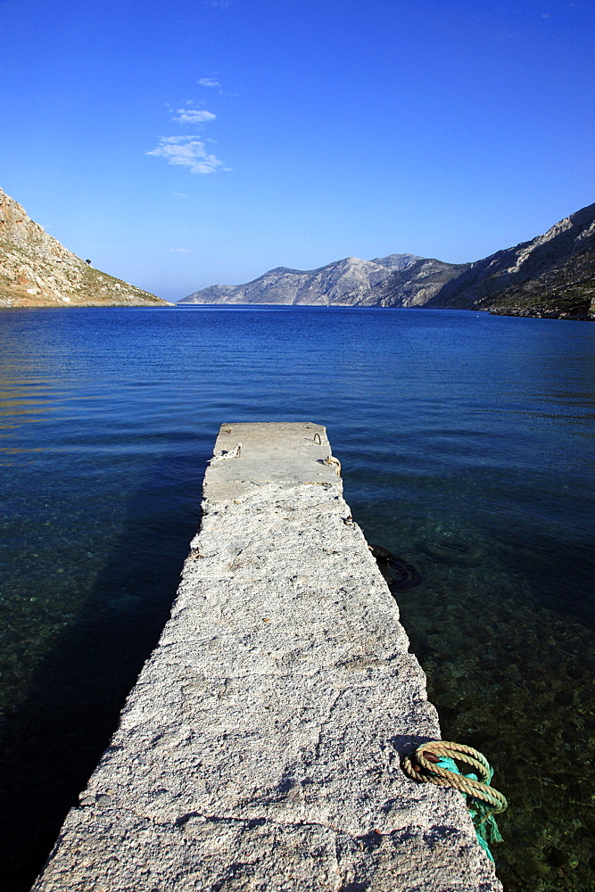 Jetty on the secluded and remote north coast of Kalymnos island, Dodecanese, Greek Islands, Greece, Europe