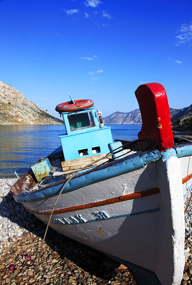 Old fishing boat, Kalymnos island, Dodecanese, Greek Islands, Greece, Europe