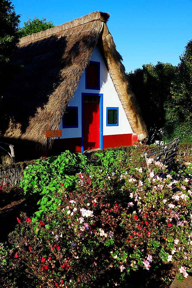 Traditional house in Santana, northwest Madeira, Portugal