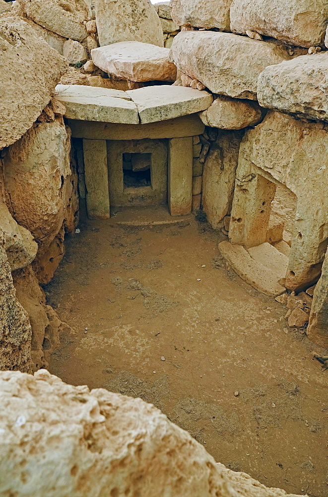 Inside the Megalithic temples of Hagar Qim, UNESCO World Heritage Site, Malta, Europe