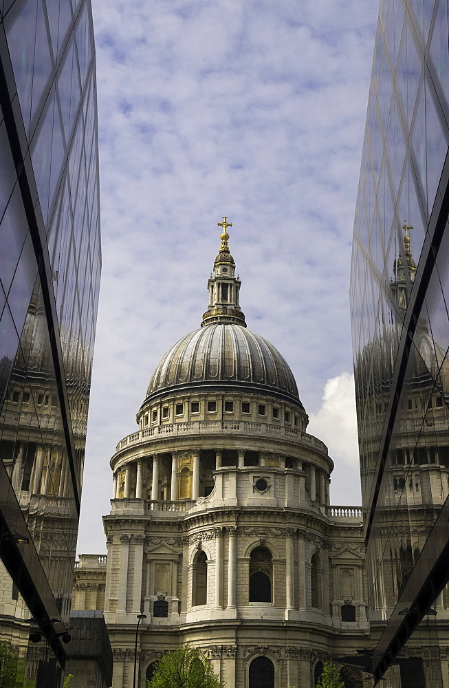 St. Paul's Cathedral taken from the One New Change shopping complex in the City of London, England, United Kingdom, Europe