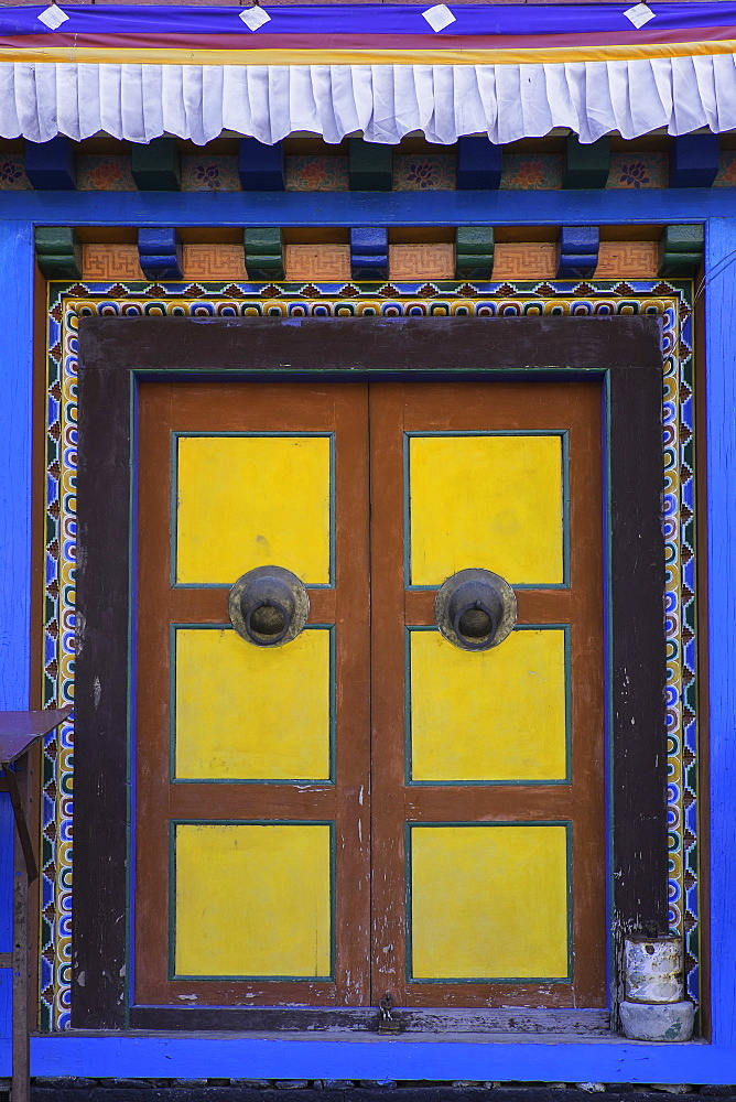 Door at the Buddhist monastery in Tengboche in the Khumbu region of Nepal, Asia - 803-202
