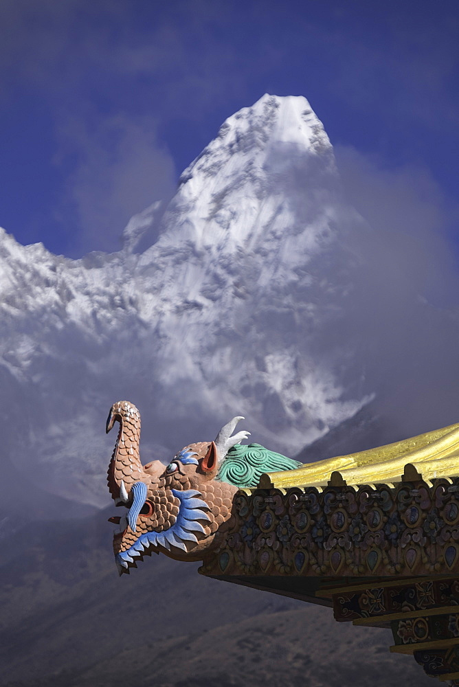 Detail at the Buddhist monastery in Tengboche in the Khumbu region of Nepal with Ama Dablam mountain in the background, Himalayas, Nepal, Asia - 803-205