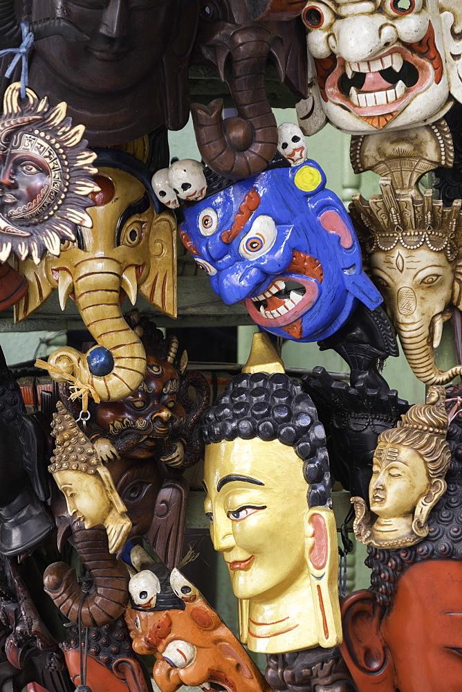Masks on sale in a shop in Kathmandu, Nepal, Asia - 803-209