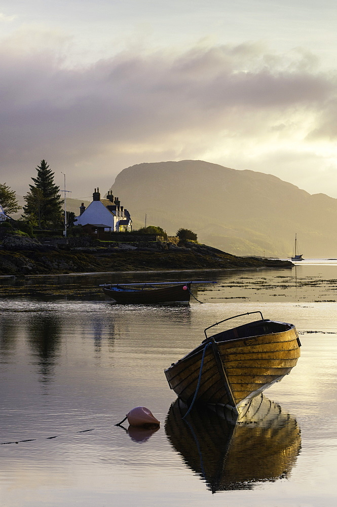 Dawn view of Plockton and Loch Carron near the Kyle of Lochalsh in the Scottish Highlands, Scotland, United Kingdom, Europe - 803-236