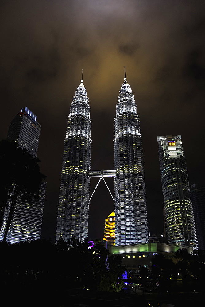 Petronas Towers at night, Kuala Lumpur, Malaysia, Southeast Asia, Asia - 803-253