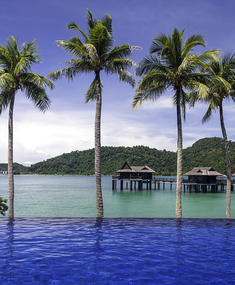Beach and villas at the luxury resort and spa of Pangkor Laut, Malaysia, Southeast Asia, Asia
