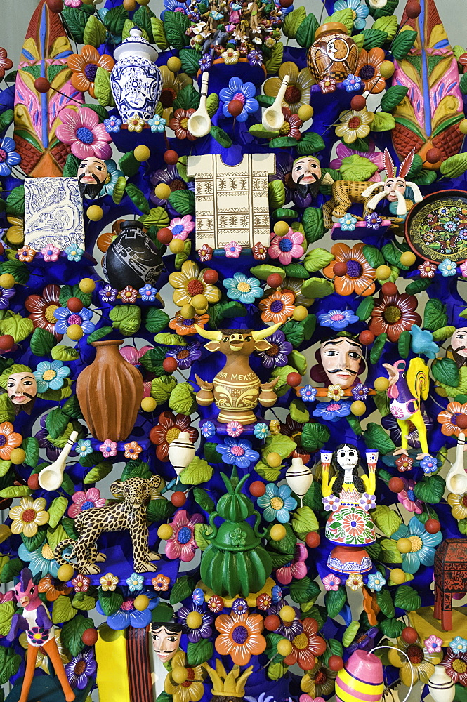 Close up of a traditional Tree of Life, a themed clay sculpture typical to central Mexico, Merida, Yucatan, Mexico, North America - 803-272