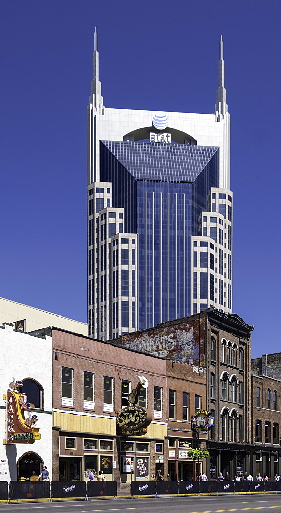 The AT&T Building, locally known as the Batman Building in Nashville, Tennessee, United States of America, North America