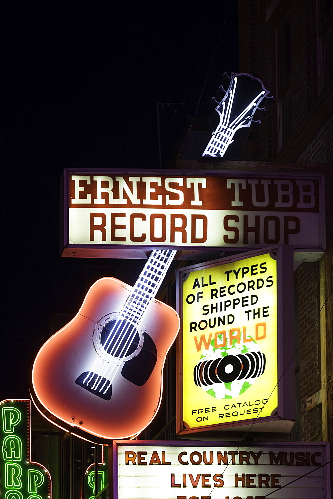 Neon signs and historic music clubs along Lower Broadway in Nashville, Tennessee, United States of America, North America - 803-285