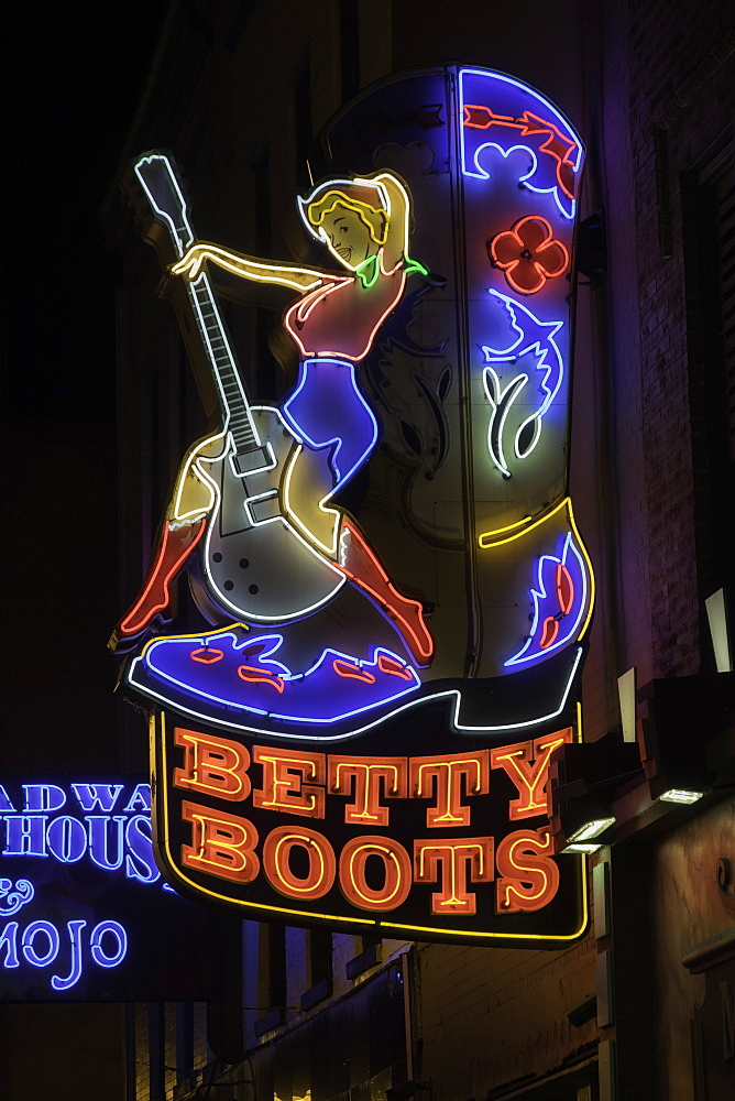 Neon signs and historic music clubs along Lower Broadway in Nashville, Tennessee, United States of America, North America - 803-287