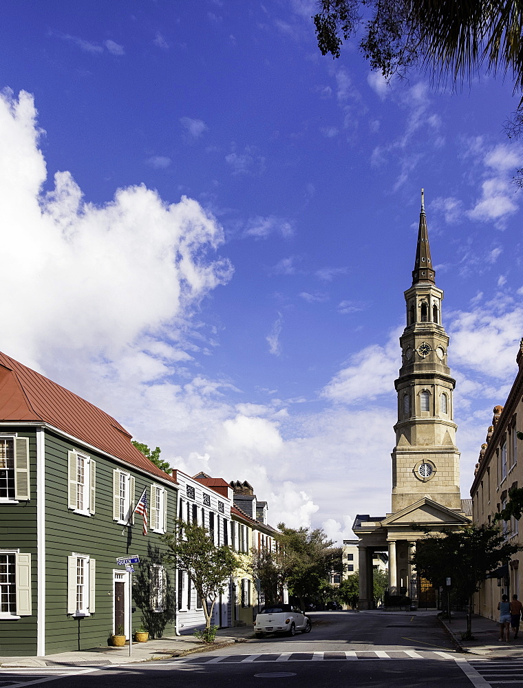 View towards St. Philip's Episcopal Church on Church Street, Charleston, South Carolina, United States of America, North America