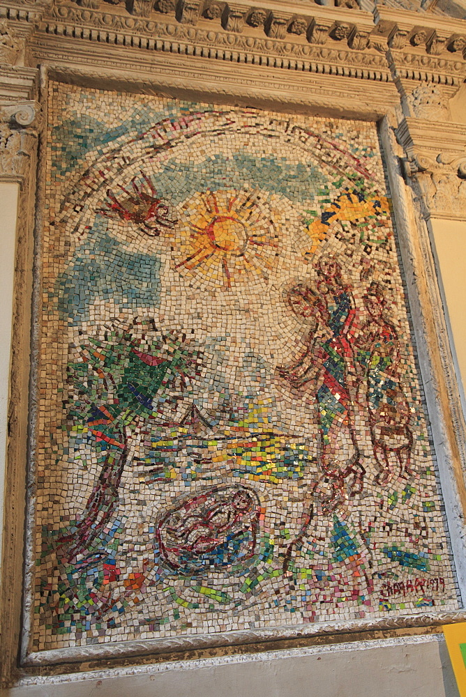 Marc Chagall mural, Cathedral of the Birth of the Virgin, Vence, Alpes Maritimes, Provence, Cote d'Azur, France, Europe