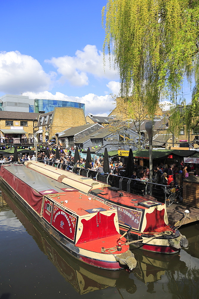 Camden Lock Market, Narrow Boats, Camden, London, England, United Kingdom, Europe