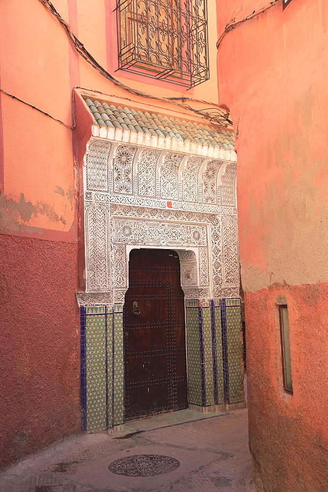 Ornate door, Old City, Medina, UNESCO World Heritage Site, Marrakesh (Marrakech), Morocco, North Africa, Africa