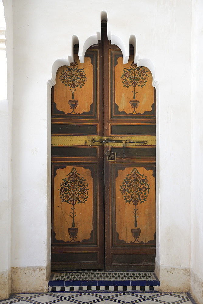 Ornate Door, Bahia Palace, UNESCO World Heritage Site, Marrakesh (Marrakech), Morocco, North Africa, Africa