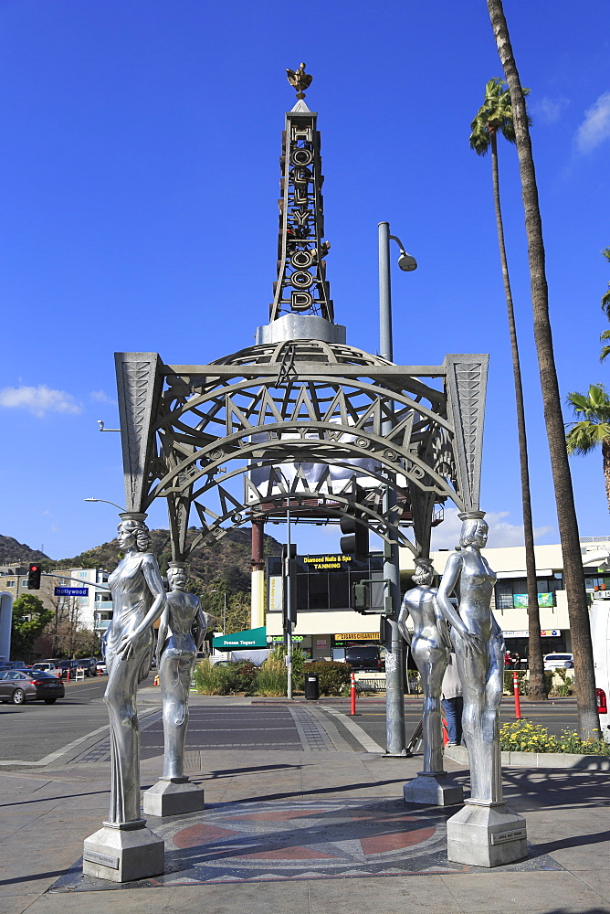 Silver Four Ladies of Hollywood Gazebo, Hollywood Walk of Fame, Hollywood Boulevard, Hollywood, Los Angeles, California, United States of America, North America