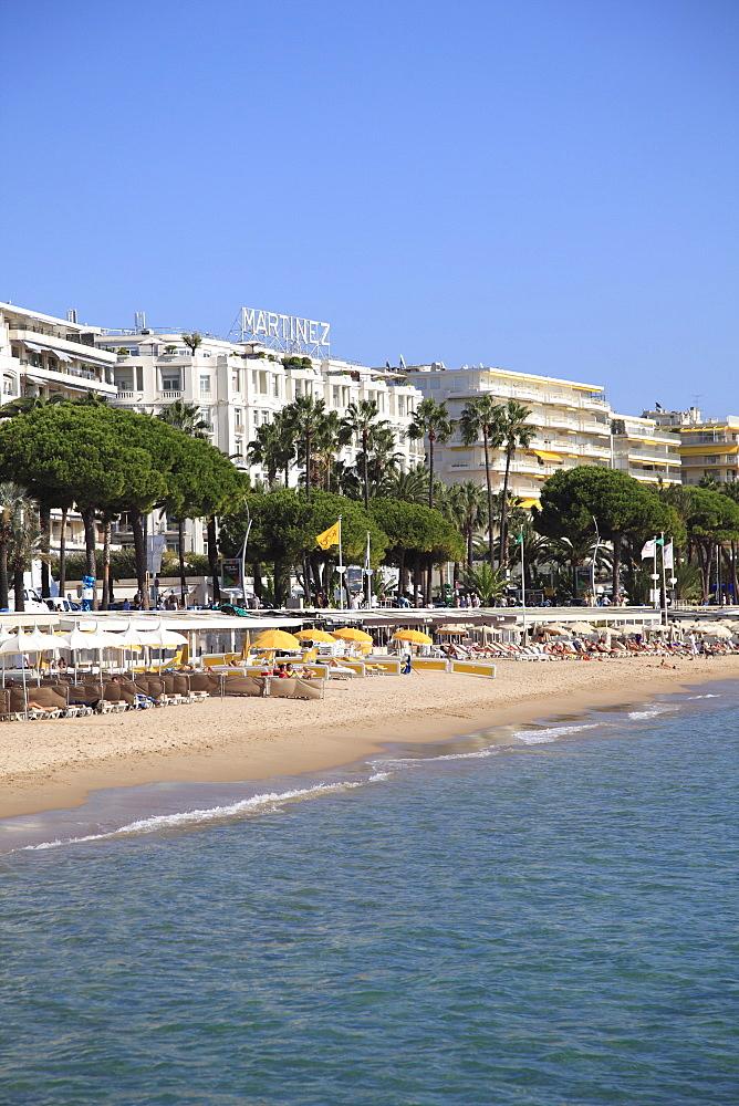 Beach, La Croisette, Cannes, Alpes Maritimes, Provence, Cote d'Azur, French Riviera, France, Mediterranean, Europe