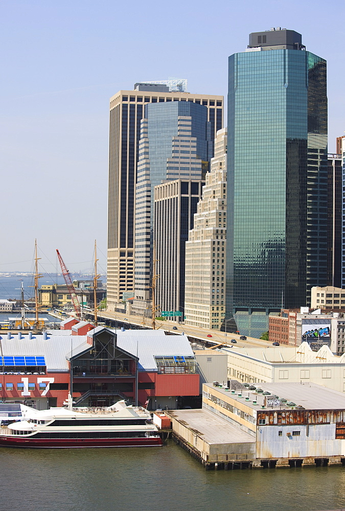 South Street Seaport and Lower Manhattan buildings, New York City, New York, United States of America, North America