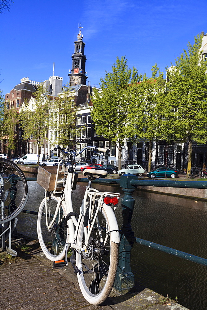 Bicycles by the canal, Amsterdam, Netherlands, Europe