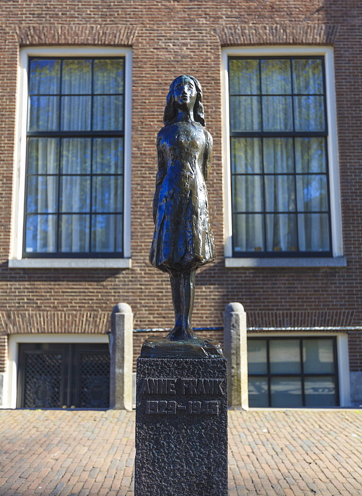 Statue of Anne Frank outside Westerkerk, near her house, Amsterdam, Netherlands, Europe