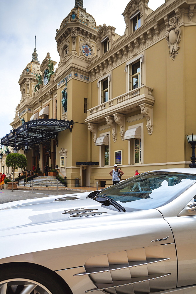 Exotic sports car outside Casino de Monte-Carlo, Monaco, Europe